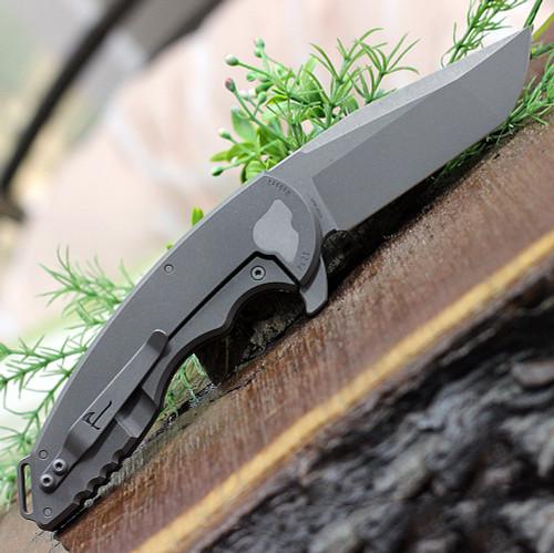 """Jake Hoback A15 Slimline Titanium 028, 3.75"""" CPM-20CV Gray Stonewash Plain Blade, Titanium Handle"""