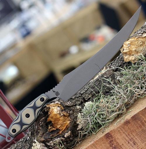 """TOPS Knives Filet Knife FIL-01, 8"""" 154CM Tumble Finish Filet Knife, Tan & Black SureTouch G-10 Handle"""
