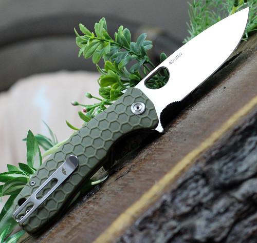 "Honey Badger Knives Large Flipper HB1003, 3.63"" 8Cr13MoV Satin Drop Point Plain Blade, Green FRN Handle"