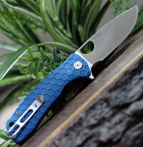 "Honey Badger Knives Large Flipper HB1004, 3.63"" 8Cr13MoV Satin Drop Point Plain Blade, Blue FRN Handle"
