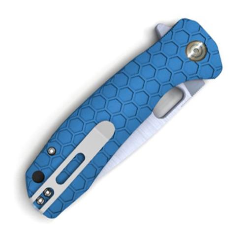 "Honey Badger Knives Small Flipper HB1024, 2.81""  8Cr13MoV Satin Drop Point Plain Blade, Blue FRN Handle"