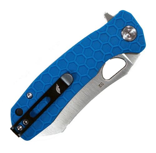 "Honey Badger Knives Medium D2 Warncleaver Flipper HB1043, 3.19"" D2 Satin Warncleaver Plain Blade, Blue FRN Handle (Black Clip, Black Backspacer)"