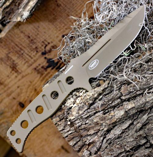 "Benchmade 375FE-1 Fixed Adamas, 4.20""CPM-CruWear Flat Earth Plain Blade, Flat Earth CPM CruWear Handle w/ Sheath"