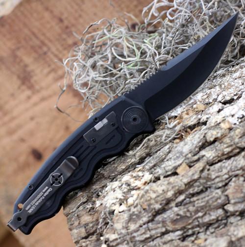 """SOG-TAC Mini Auto ST-11, 3.0"""" AUS-8 Clip Point Black Plain Blade, Black Aluminum Handle"""