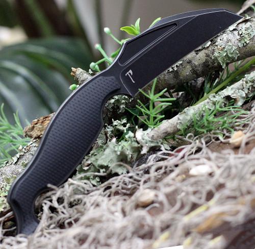"Jake Hoback Talim Combatives HOB011L, 3.5"" S35VN Stonewash Wharncliffe Plain Blade, Black G-10 Handle"