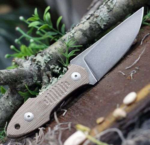 "GiantMouse GMF3-P Fixed Blade GMF3P-NAT-PVD, 3.25"" N690 PVD Plain Blade, Natural Canvas Micarta Handle"