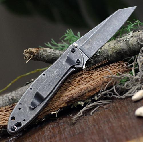 """Kershaw Random Leek - Blackwash 1660RBW, 3"""" Sandvik 14C28N Blackwshed Reverse Tanto Blade, Stainless Steel Blackwash Handle"""