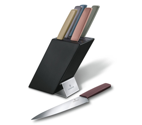 Victorinox Swiss Modern 6.7186.66, Compact Knife Block w/ 6 Pieces, Colored Handles