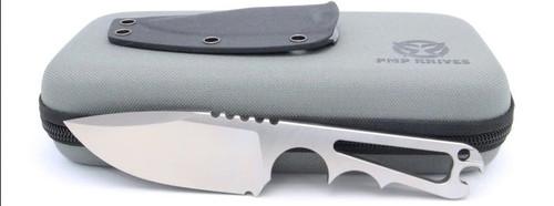 "PMP Knives Pitbull Fixed Blade, 7"" Overall D2 Satin Plain Fixed Blade Knife, Black Kydex Sheath"