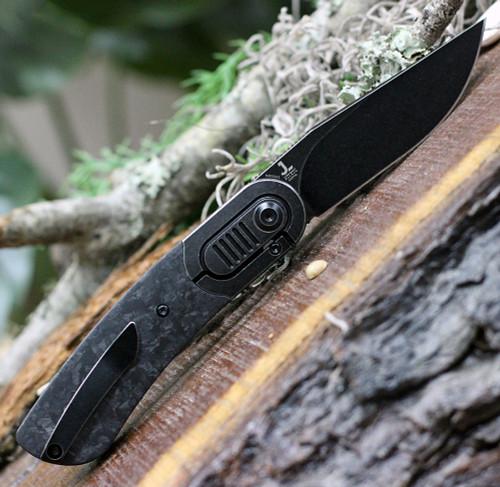"Kansept Knives K2025A2 Lundquist Reverie, 2.92"" S35VN Black Stonewash Plain Blade, Shred Carbon Fiber Handle w/ Titanium Bolster"