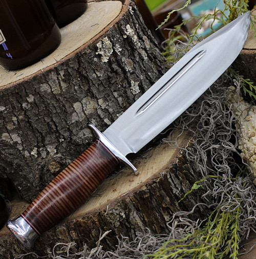 """Bark River Knives Teddy II, 8.0"""" A2 Tool Steel Plain Blade, Stacked Leather Handle, Leather Sheath"""