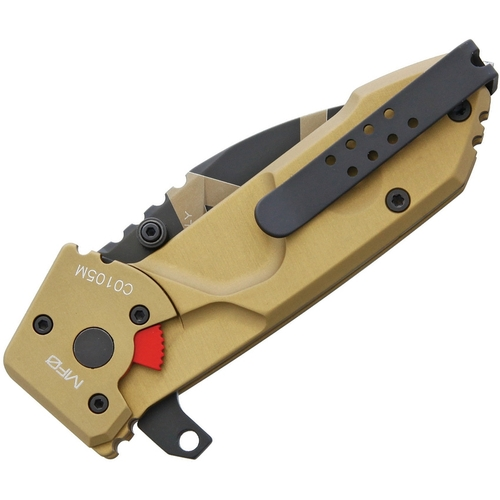 "Extrema Ratio MFO Folding Knife EX0140DW, 2.5"" N690 Desert Warfare Plain Blade, Tan Aluminum Handle"