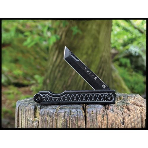 "StatGear Pocket Samurai Folding Knife STAT116, 2.1"" 44OC Satin Plain Blade, Black Aluminum Handle"