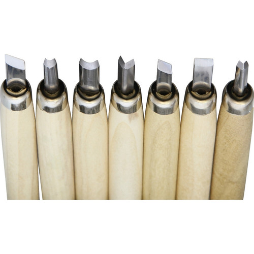 """Yoshiharu L-7 Japanese Carving Knife Set, 1.0"""" Stainless Steel Blade 5.5"""" Overall Length, Wood Handle - Set of 7"""