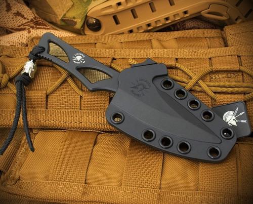 """Spartan Blades Enyo Fixed Blade SBBL2BK, 2.7"""" AUS-8A Black Plain Blade, Black AUS-8A Handle"""