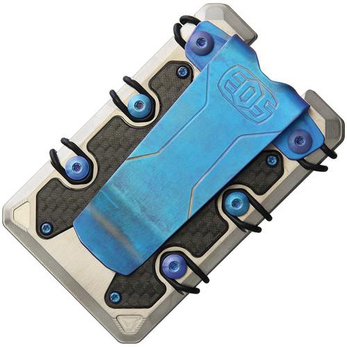 EOS 3.0 Titanium Wallet EOS050, Satin Construction, Blue Anodized Hardware