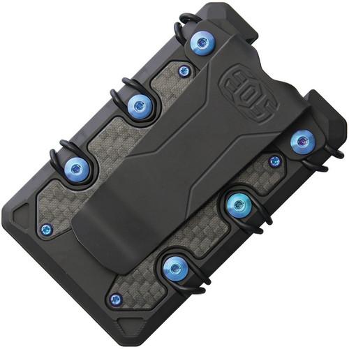 EOS 3.0 Titanium Wallet EOS054, Black Cerakote Construction, Blue Anodized Hardware
