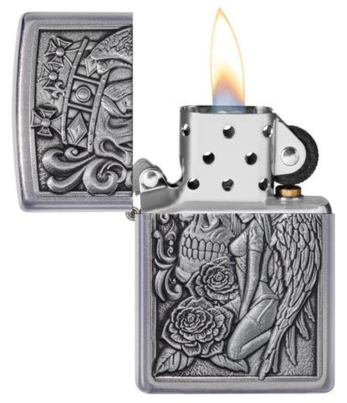 Zippo 49442-000003 Skull and Angel Emblem Design Lighter