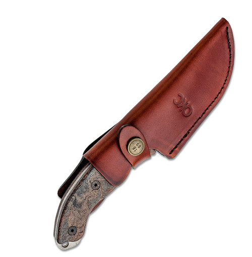 "Ontario Knife Co. Hiking Knife 8187, 3.4"" 420HC Satin Plain Blade, Brown & Black Micarta Handle, Brown Leather Sheath"
