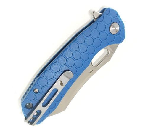 """Honey Badger Knives Large Flipper HB1158, 3.63"""" D2 Satin Wharncleaver Plain Blade, Blue FRN Handle"""