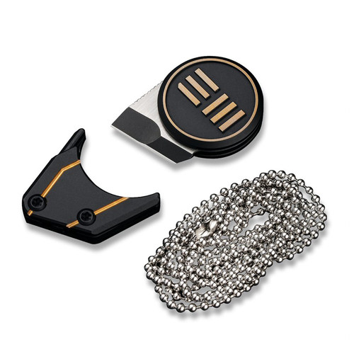 "WE Knife Co. Quark Neck Knife (WE20021-1) - 0.47"" M390 Two-Tone Blade, Black Titanium with Gold WE logo"