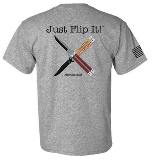 "Bear & Son ""Just Flip It"" Balisong - Gray T-Shirt (Large)"