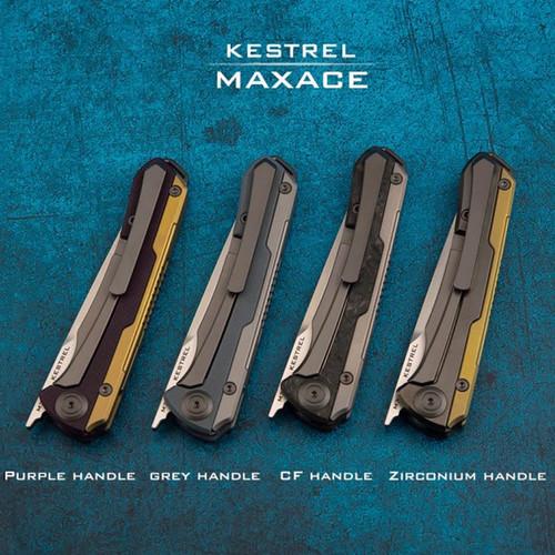 "Maxace Knives Kestrel Front Flipper (MKT201) - 3.62"" M390 Satin Blade, Purple G-10 Handle"