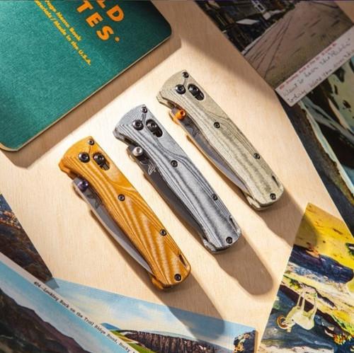 Flytanium Crossfade Green Canvas Micarta Scales - for Benchmade MINI Bugout