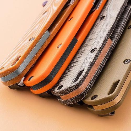 Flytanium Crossfade Green Linen Micarta Scales - for Benchmade MINI Bugout