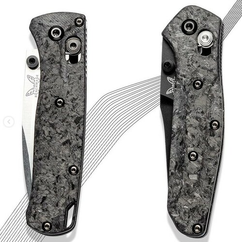 Flytanium Crossfade Shredded CF Scales - for Benchmade MINI Bugout