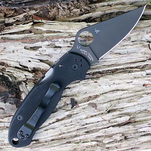 Spyderco Para Military 3 G-10 Black  C223GPBK, 2.95 in. CPM S30V Black Plain Blade