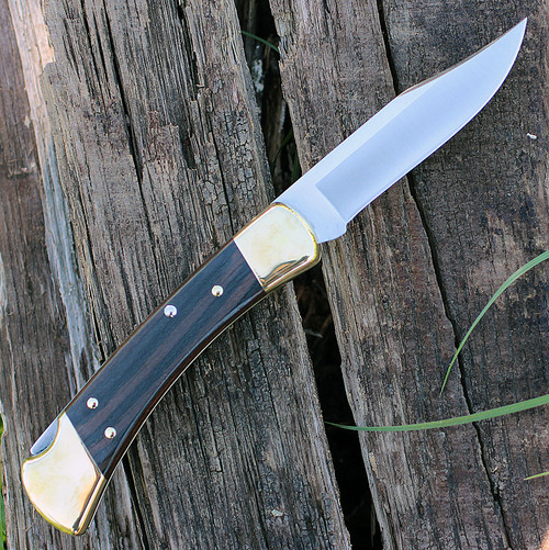 "Buck 110BRSA Automatic Hunter, 3.75"" 420HC SS Plain Blade, Ebony Dymondwood Handle"