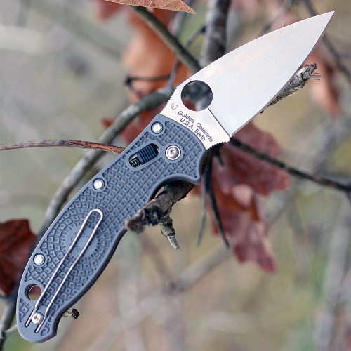 "Spyderco C101PGY2 Manix 2 Lightweight, 3.38"" Maxamet Steel Plain Blade, Stone Gray FRN Handle"