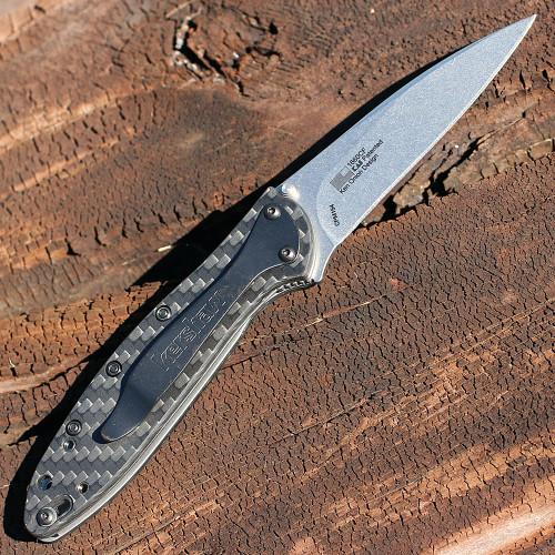 "Kershaw 1660CF Leek, 3"" CPM 154 Plain Blade, Carbon Fiber Handle"