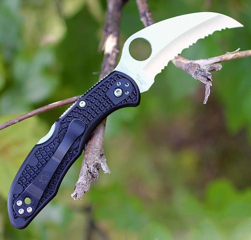 "Spyderco Tasman Salt 2 FRN Black C106SBK2, 2.80 "" H-1 Serrated Blade"