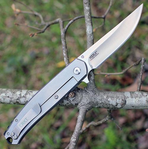 """CRKT 5320 Vizzle, 3.35"""" 8Cr13MoV Plain Blade, SS Handle"""