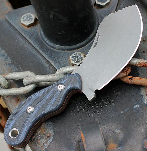 TOPS Knives Quick Skin QSK01, 1095 Tumble Finish Blade, Black/Blue G10 Handles