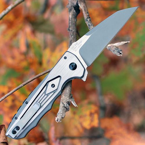 Kershaw Deadline 1087, 3.8 in. 8Cr13MoV Plain Blade, Stainless Steel Handle