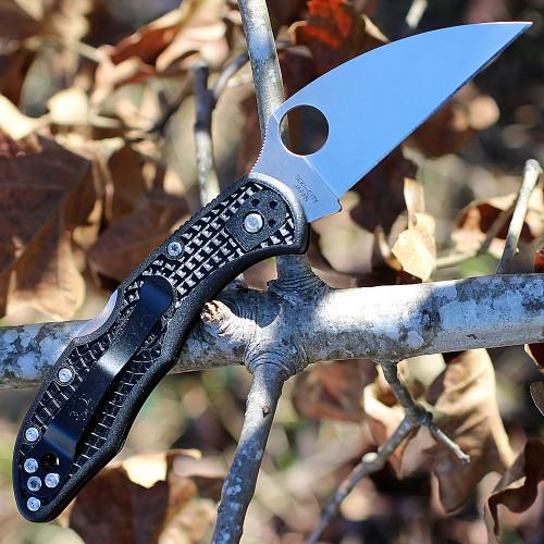 "Spyderco C11FPWCBK Delica 4 Wharncliffe, 2.87"" VG-10 Plain Blade, FRN Handle"