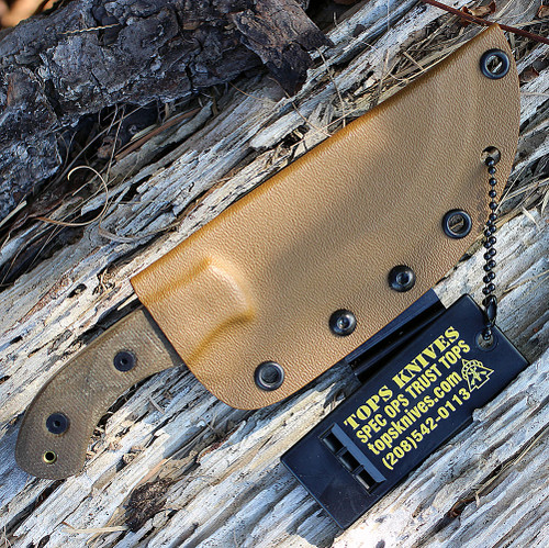 Tops TBT04-TAN Tom Brown Tracker #4, Green Canvas Micarta, Coyote Tan Coating Blade, Kydex Sheath