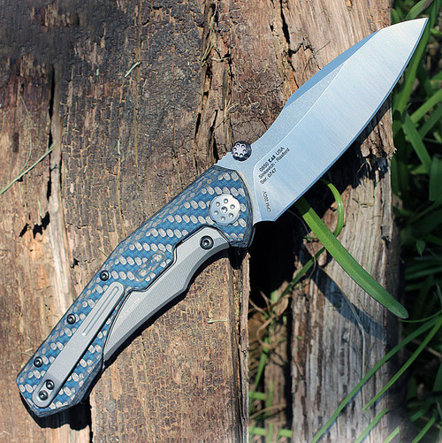 "Zero Tolerance 0850, 3.75"" CPM 20CV Stonwashed Plain Blade, Blue Carbon Fiber Handle"