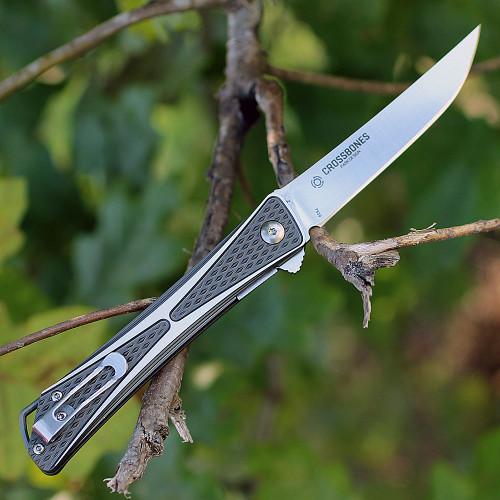 "CRKT 7530 Crossbones, 3.5"" AUS 8 Plain Blade, Two-Tone Brushed Aluminum Handle"