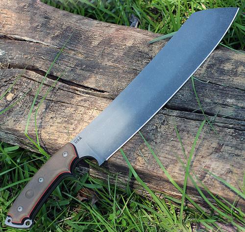 "TOPS El Chete ELCH01, 12"" 1095 Acid Rain Blade, Micarta Handle, Rotating Spring Steel Clip"