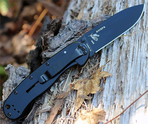 "BRK Avispa BRK1302B, 3.5"", Black D2 Steel, Plain Edge, Drop Point, Design by Esee Knives, Black Nylon handles"