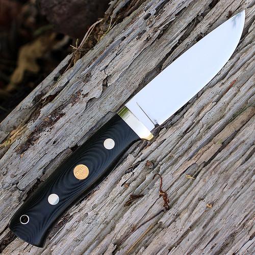 Fallkniven F1L3Gbm Next Generation, 4.05 in 3G Steel Plain Blade, Black Micarta Handle