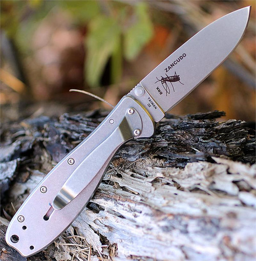 "BRK Zancudo BRKR2, 2.94"", Plain Edge, Drop Point Blade, Stonewash D2 Steel, Design by Esee Knives, Black Handle"