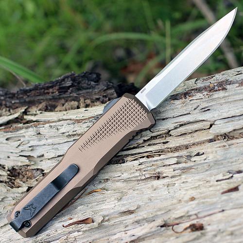 "Benchmade 4600-1 PHAETON Auto, 3.45"" CPM-S30V Plain Blade, Dark Earth Anodized Aluminum Handles"