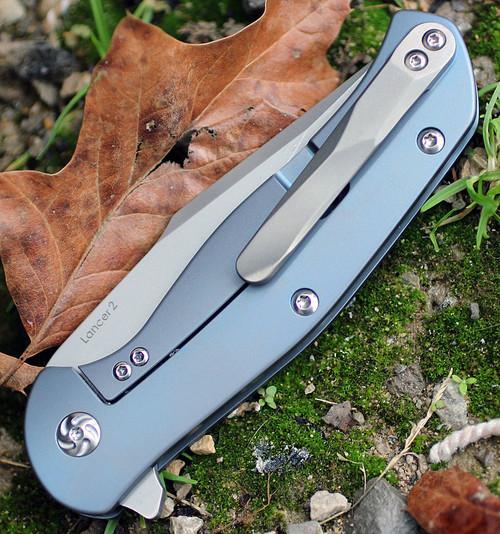 "Kizer 4495 Lancer 2, 3.5"" CPM-S35VN Plain Blade, Blue Titanium Handle"