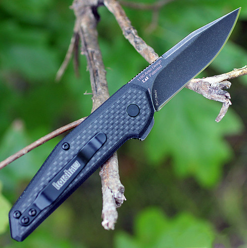 "Kershaw 1160 Fraxion, 2.75"" 8Cr13MoV Plain Blade, Black G-10/Carbon Fiber Overlay"