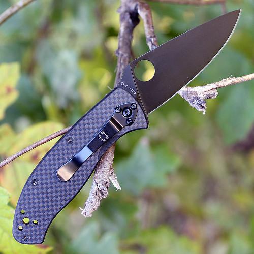 "Spyderco C122CFBBKP Tenacious, 3.39"" 8Cr13MoV Black Plain Blade, Carbon Fiber Handle"